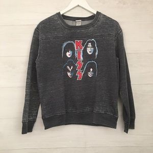 KISS Band Distressed Sweatshirt, Size L